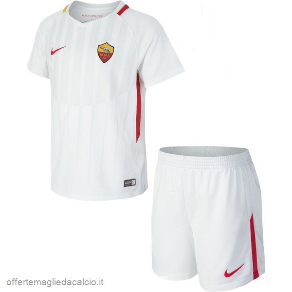 Calcio Shop Online Nike Away Set Completo Bambino AS Roma 17-18 Bianco