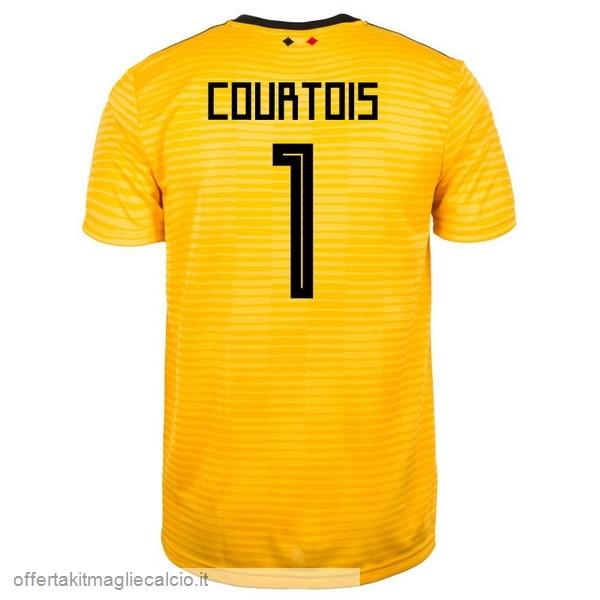 6f06f0d9a Vendita Maglie Calcio adidas NO.1 Courtois Away Maglia Belgica 2018 Giallo