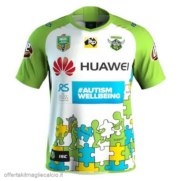 Calcio Shop Online Isc Huawei Caridad Rugby Maglia Canberra Raiders 2018 Bianco Verde